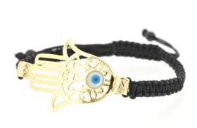 Silver Hand Of God Gold Tone Evil Eye Silk Rope Adjustable Bracelet
