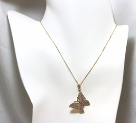 14K Yellow Gold Butterfly Cubic Zirconia Necklace 32000536