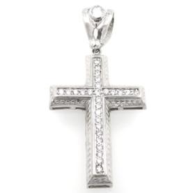 Sterling Silver Cross Cubic Zirconia Charm