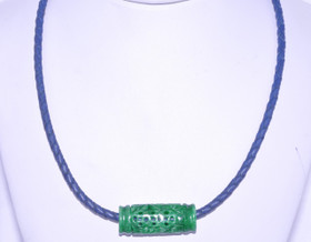 83010378 Silver Green Jade Leather Necklace w/ Blue Leather Strap