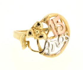 1900007110K Tri Color Gold 15 Años Ring
