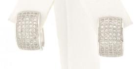 84010203 Silver CZ Huggie Earrings