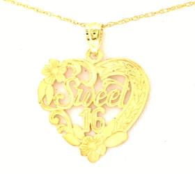 14K Yellow Gold Sweet 16 Heart Charm 50001203