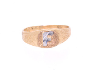 "10000686 14K Yellow Gold Initial ""F"" Ring"