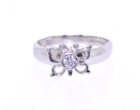 10016197 14K White Gold CZ Butterfly Ring