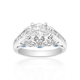 14K White Gold Certified 0.91 ct Diamond Engagement Ring