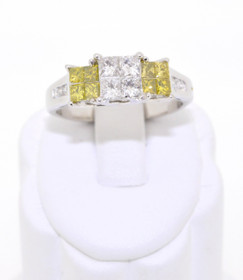 14K White Gold White & Yellow Diamond Engagement Ring  11003005