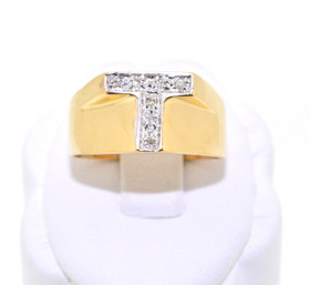 11002157 14K Yellow Gold Diamond Initial Ring