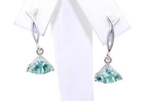 14K White Gold Blue Quartz Earrings 42000715