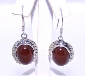 80000512 Sterling Silver Red Agate Dangle Earrings