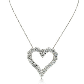 14K White Gold Cubic Zirconia Heart Charm