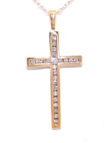 38010008 10K Yellow Gold Diamond Cross Pendant