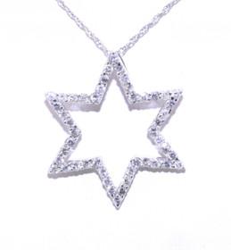 51001261 White Gold Diamond Star of David Pendant