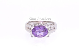 10K White Gold Amethyst/Diamond Ring 19210005