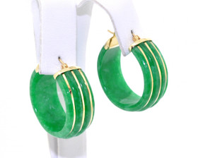 14K Yellow Gold Jade Hoop Earrings 42001588