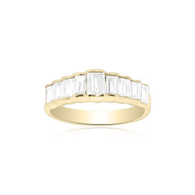18K Yellow Gold Emeral Cut Diamond Wedding Band 11003080