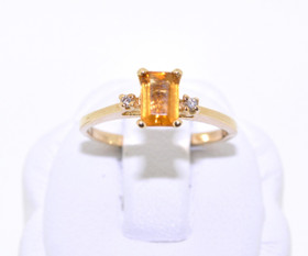 12001548 14K Yellow Gold Citrine/Diamond Ring