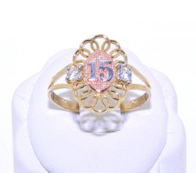 12001781 14K Tri-Color Gold 15 Quinceañera Ring