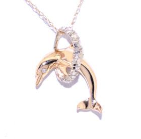14K Two Tone Gold Diamond Dolphin Charm 50001770