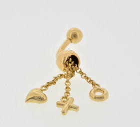 50001842 14k Yellow Gold Hearts, Hugs and Kisses Belly Ring