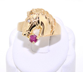 12001785 14K Yellow Gold Fancy Ruby/Diamond Horse Ring
