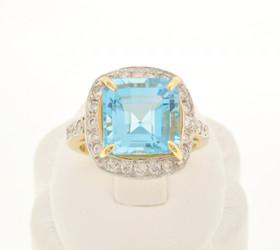 12001608 14K Yellow Gold Sky Blue Topaz and Diamond Ring