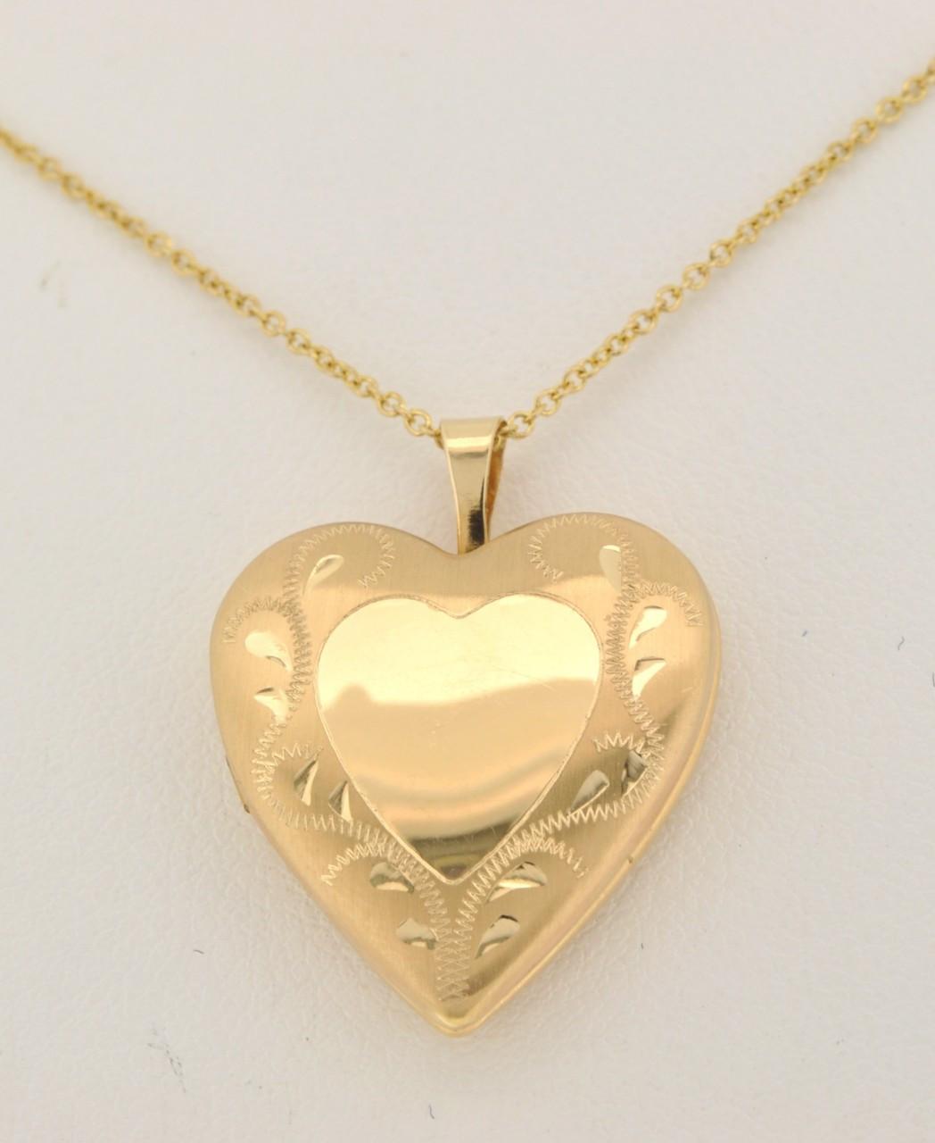 17e1ae9256 50000693 14K Yellow Gold Heart Locket Pendant - Shin Brothers ...