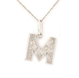 51000055 14K White Gold Diamond Initial Charm