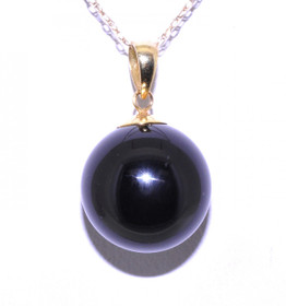 14K Yellow Gold Onyx Sphere Charm
