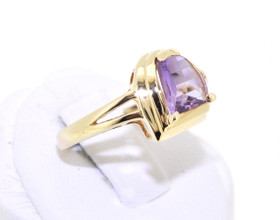 12000959 14K Yellow Gold Amethyst/Diamond Ring