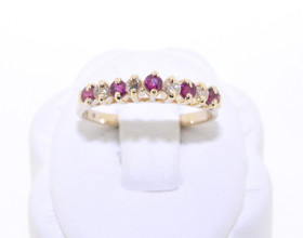 12001021 14K Yellow Gold Ruby/Diamond Ring