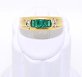 12001783 14K Yellow Gold Emerald/Diamond Ring