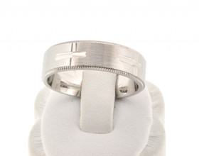 14K White Gold Cross design Comfort Fit Wedding Band  10016065