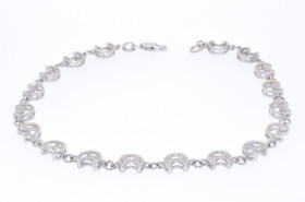 "82010299 Sterling Silver Moon 10"" Anklet"
