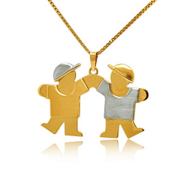 14K Two Tone White And Yellow Gold Twins Boys Charm 50001988