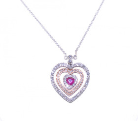 14K White Gold Pink Gold Diamond Ruby Heart Necklace 52001176