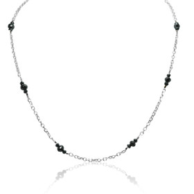 "14K White Gold Black Diamond Pendant With 17"" Link Chain"