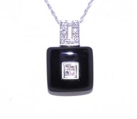 14K White Gold Onyx/Diamond Pendant 52001171