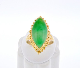 12001873 14k Yellow Gold Jade Ring