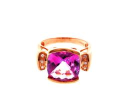 10K Pink Gold Pink Quartz/Diamond Ring 19000098