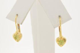 14K Yellow Gold Peridot Lever Back Earrings