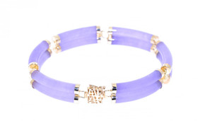 14K Yellow Gold Lavender Jade Double Link Bracelet  22000461