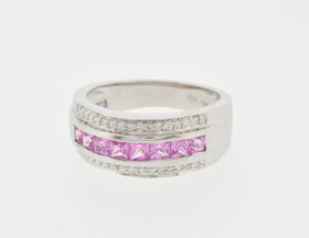 14K White Gold Pink Sapphire Ring 12000986