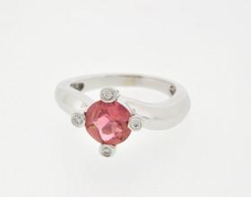12001586 14K White Gold Diamond Pink Tourmaline Ring