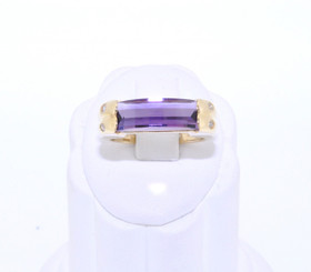 14K Yellow Gold Amethyst Diamond Ring