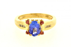 12001821 Yellow Gold Tanzanite/Diamond/Pink Sapphire Ring
