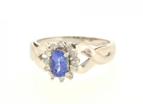 12001820 14K White Gold Tanzanite/Diamond Ring