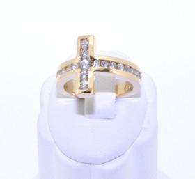 12001857 14K Yellow Gold CZ Cross Ring