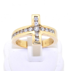 12000938 14K Yellow Gold CZ Cross Ring
