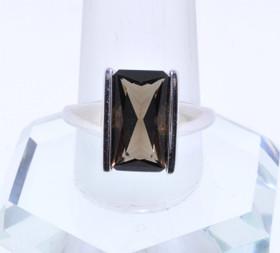 12001834  14K White Gold Smokey Topaz Ring